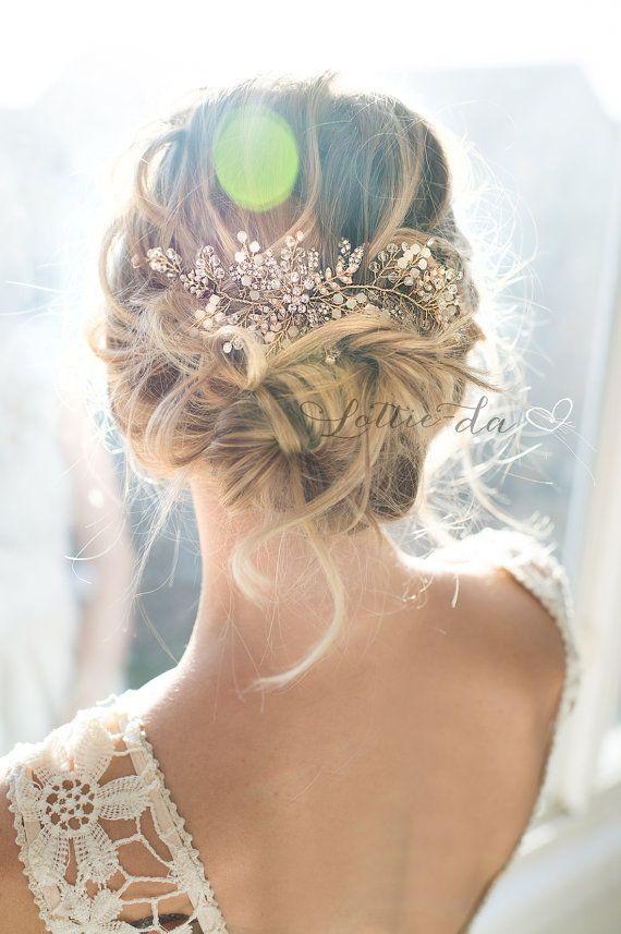 Свадьба - Gold, Antique Gold, Silver, Rose Gold Boho Headpiece, Opal Flower Hair Crown, Hair Vine Wreath, Wedding Headband - 'ZOYA'