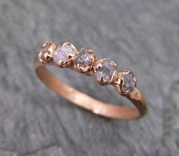 Свадьба - Raw Pink Diamonds Rose Gold Ring Wedding Band Custom One Of A Kind Gemstone Ring Rough Diamond Ring