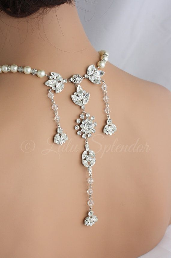 Mariage - Backdrop Wedding Necklace Crystal Bridal Back Drop Necklace Statement Backdrop Necklace Wedding Jewelry BREA GRAND NECKLACE