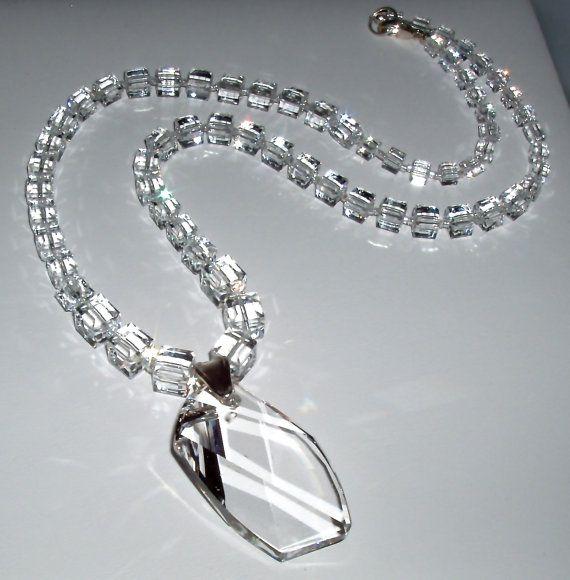 Свадьба - Swarovski Crystal Cube Necklace And Pendant