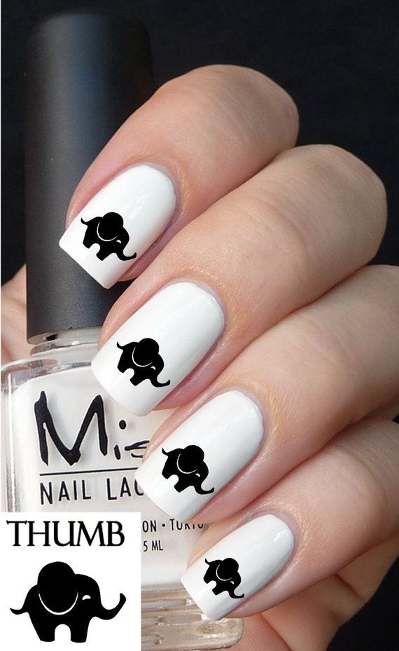 Hochzeit - Cute Baby Elephant Nail Decals By DesignerNails On Etsy