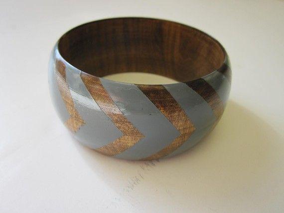 Mariage - Grey Stained Wood Bangle, $10, Vozclothingandart
