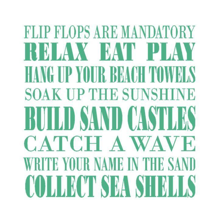 Wedding - Beach Rules Vinyl Decal, Beach Wall Decal, Beach Decor, Beach Vinyl Wall Decal Words, Beach Sticker, Beach House Decorations, Window Decals