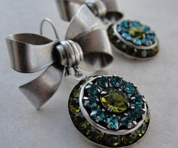 زفاف - Aqua And Lime Bow Earrings By VashtiJewelry On Etsy, $25.00
