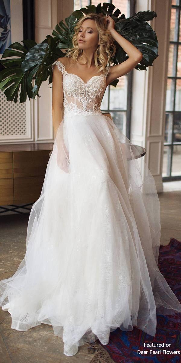 Wedding - Donatella - Off Shoulder Illusion Lace Back Wedding Dress