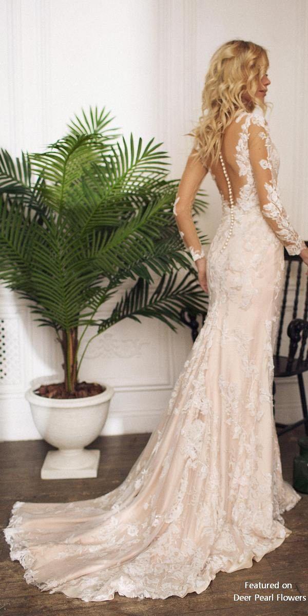 Wedding - Drafne - Illusion Lace Long Sleeves Lace Wedding Dress