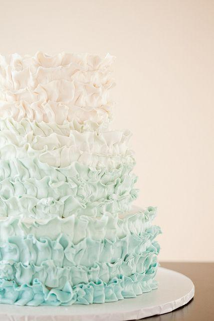 Wedding - STUNNING Pale Aqua Ombre Ruffles By Wild Orchid Baking Co., Via Flickr