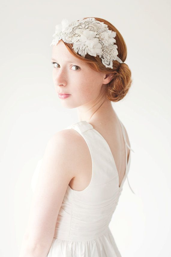 Mariage - Lace Flapper Bridal Headband, Ivory Wedding Headpiece, Crystal Headpiece, Statement Bridal Headpiece, Rhinestone Headband - Heart Whispers