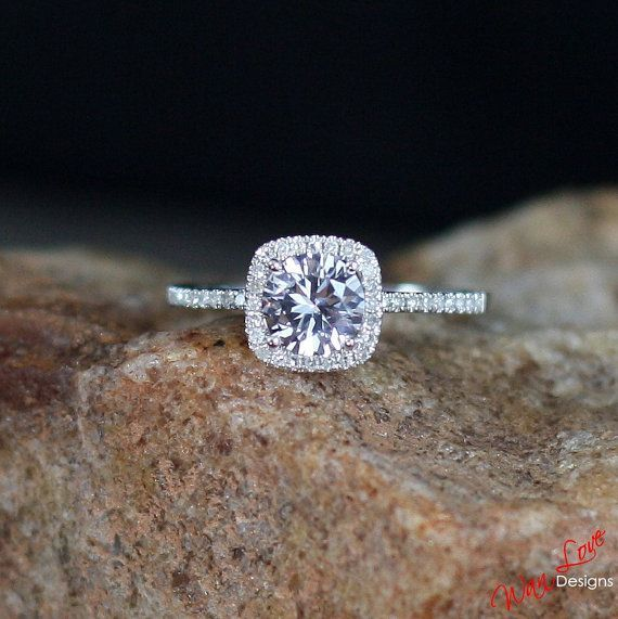 Hochzeit - Forever One Moissanite & Diamond Halo Engagement Ring Round Cushion Cathedral 1ct 6mm 14k 18k White Yellow Rose Gold Custom Promise
