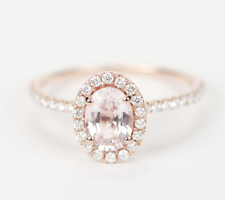 Wedding - Lovely Engagement Ring :) Peach Pink Champagne Oval Sapphire Diamond Halo Engagement Ring 14K Rose Gold
