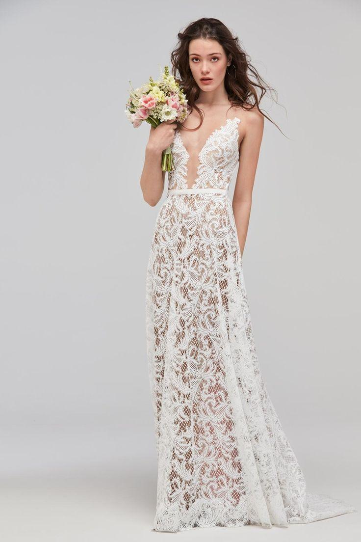 Wedding - Willowby Asa - Trending For 2018. Sheer Lace A-line Wedding Gown. Ivory Lace Over Nude Lining. Open Back Bridal Gown With Straps.