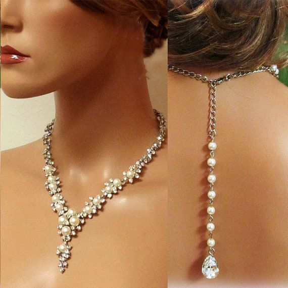 Hochzeit - Bridal Necklace Earrings , Bridal Back Drop Necklace , Vintage Inspired Rhinestone Pearl Bridal Statement, Bridesmaid Jewelry
