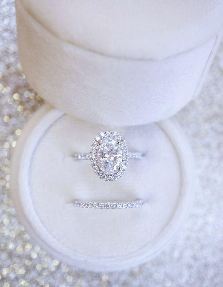 Wedding - Oval Halo Diamond Engagement Ring With Matching Wedding Band