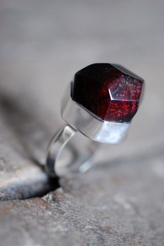 Wedding - Renaissance Raw Garnet Ring