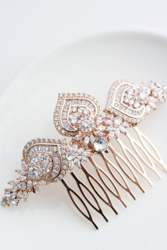 Hochzeit - Rose Gold Bridal Hair Comb Rose Gold Wedding Headpiece Crystal Hair Comb Rose Gold Wedding Hair Clip Art Deco Bridal Hair Accessories EVIE L