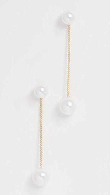 Свадьба - Double Pearl Strand Earrings