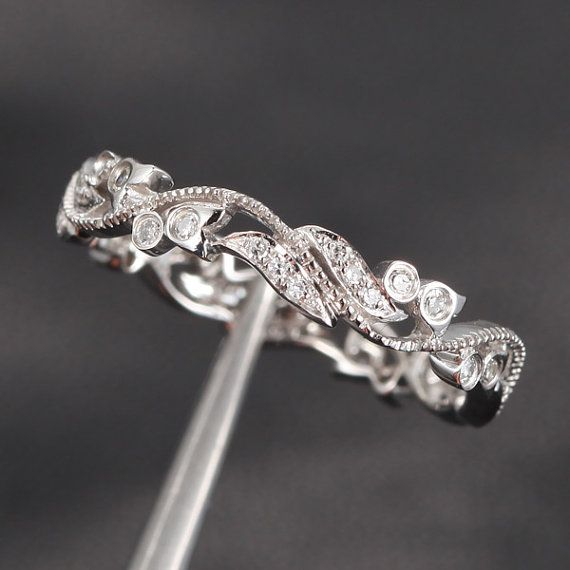 Wedding - Unique Pave 0.30ct Diamonds 14K White Gold Floral MILGRAIN Wedding Band Engagement ...