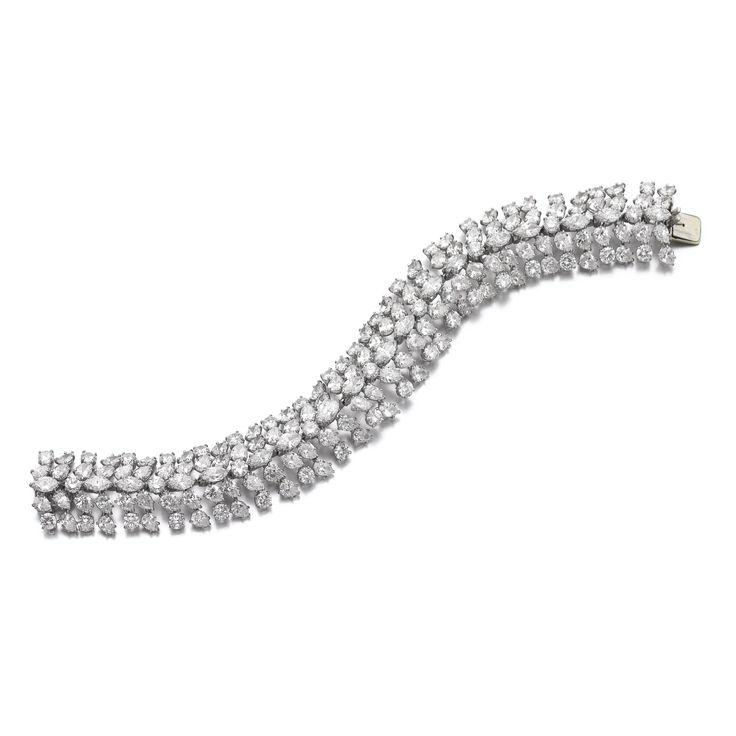 Hochzeit - Diamond Bracelet, Harry Winston  Set With Pear-, Marquise-shaped And Brilliant-cut Diamonds, Length Approximately 200mm, Unsigne…