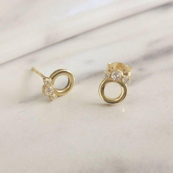 Hochzeit - Diamond Stud Earrings, Diamond Crown Stud Earrings, 14K Gold Dainty Earrings, Delicate Everyday Diamond Earrings