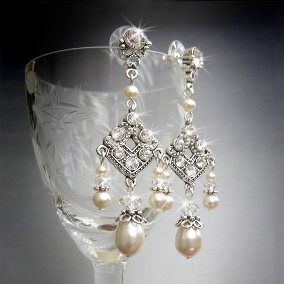 Hochzeit - Vintage Theme Wedding Pearl Chandelier Bridal Earrings  By TZTUDIO, $40.00