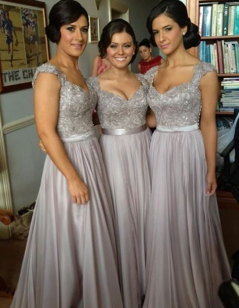 Wedding - 2014 Fashion Gray Silver Bling Chiffon Long Cheap By HedyDresses, $99.00  These!!! But Maybe In Navy Blue