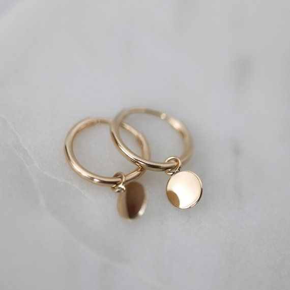 Hochzeit - Etsy 14k Gold Filled Hoop Earrings With Gold Discs