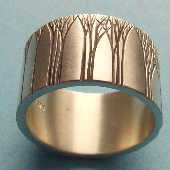 Свадьба - Men's Wedding Ring Art Deco Ring Tree Wedding Ring Wedding Band 12mm Sterling Silver
