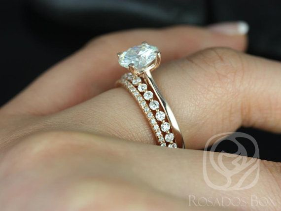 Свадьба - Rosados Box Skinny Flora 8mm, Petite Naomi & Kimberly 14kt F1- Moissanite And Diamonds TRIO Wedding Set