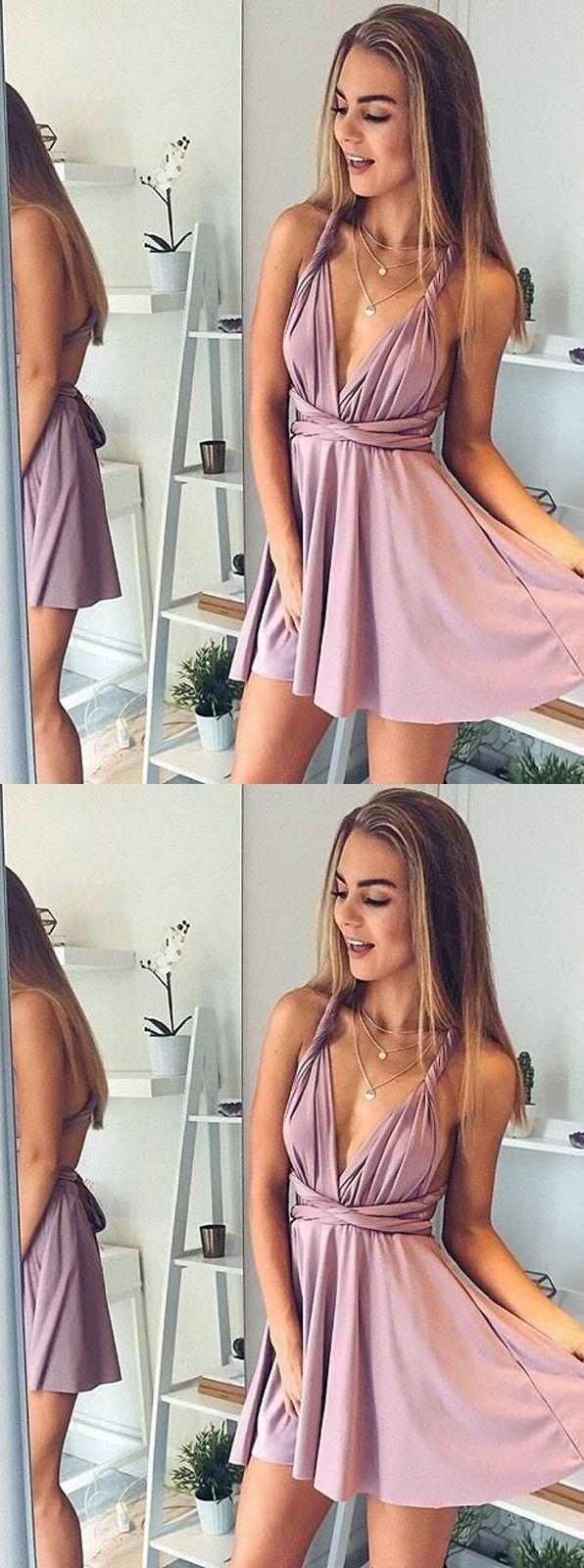 Mariage - A-Line Deep V-Neck Short Blush Elastic Satin Convertible Style Homecoming Dress