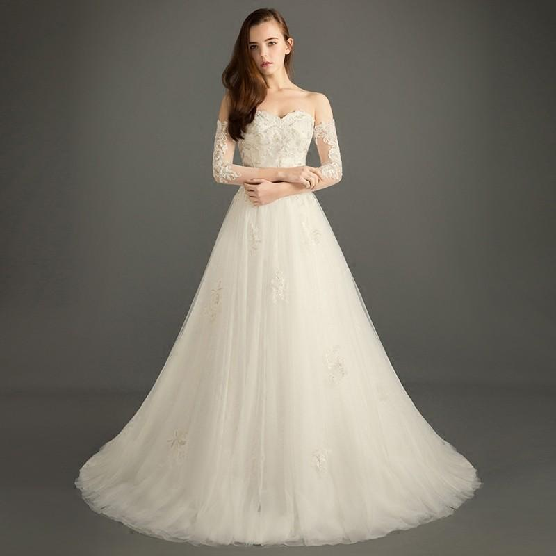 زفاف - Azazie Bethany new simple belts tail wedding dress long shoulder wedding dress - Charming Bridesmaids Store