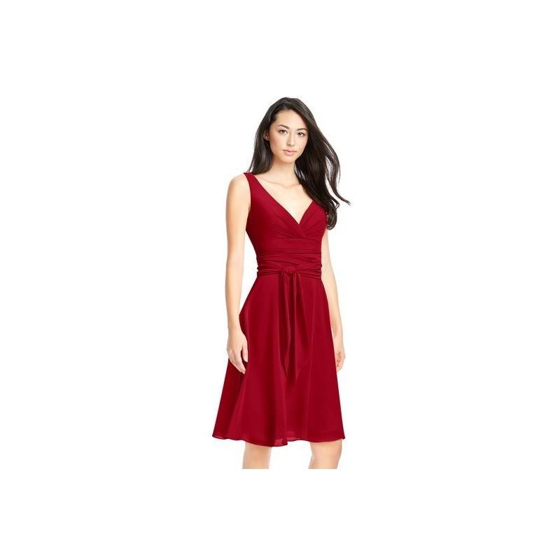 Свадьба - Burgundy Azazie Diana - Chiffon Knee Length Back Zip V Neck Dress - Simple Bridesmaid Dresses & Easy Wedding Dresses