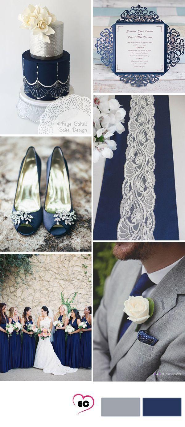 زفاف - Grey And Dark Blue Wedding Idea #WeddingIdeasBlue