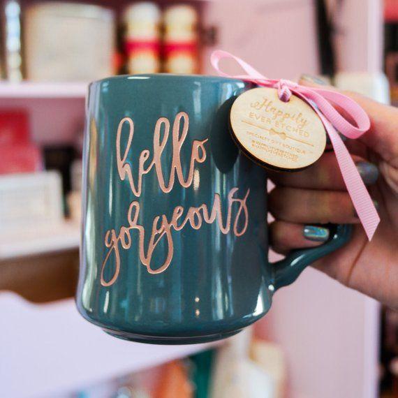 Hochzeit - Hello Gorgeous Engraved Rose Gold Coffee Mug ONE Dansk