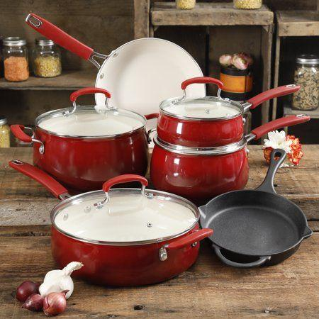 Hochzeit - The Pioneer Woman Classic Belly Sunset Red Ceramic Non-Stick Interior 10-Piece Cookware Set