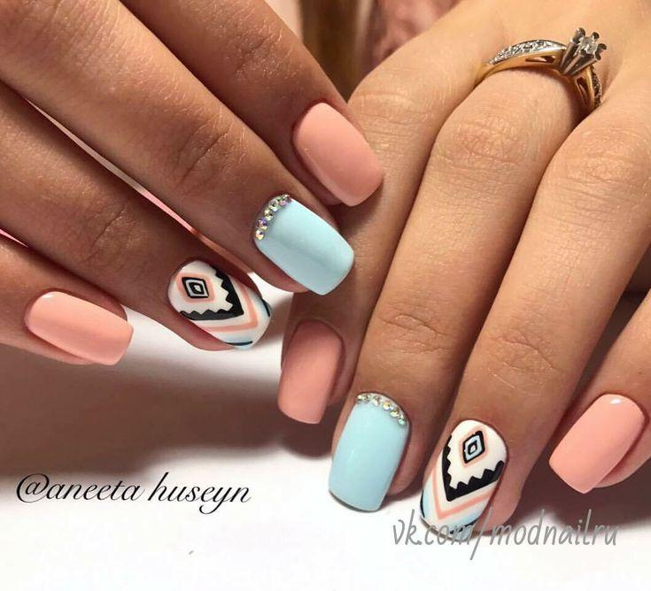 Wedding - Chevron & Pastel Nails