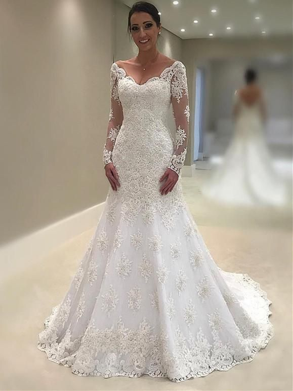 Mariage - Elegant Lace V-neck Neckline Mermaid Wedding Dresses With Appliques WD087