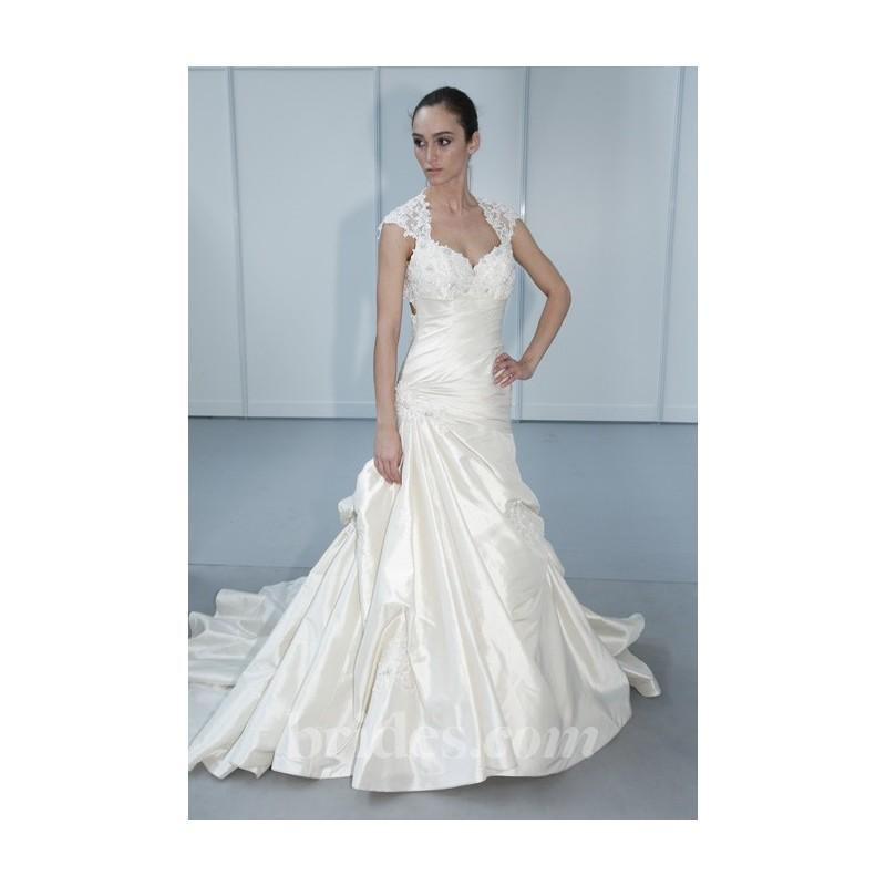 Wedding - Mon Cheri - 2013 - Satin A-Line Wedding Dress with Sheer Cap Sleeves - Stunning Cheap Wedding Dresses