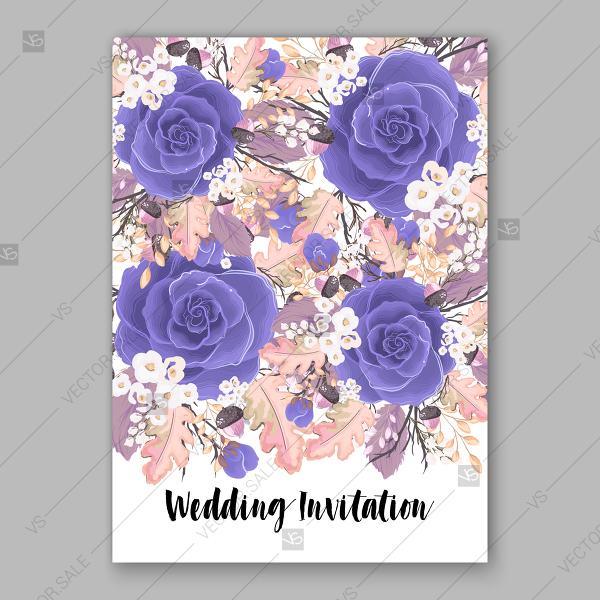 Blue Rose Wedding Invitation Floral Vector Background Floral