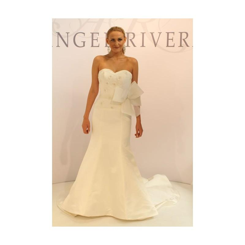 Angel Rivera Fall 2012 Strapless Silk Satin A Line Wedding Dress