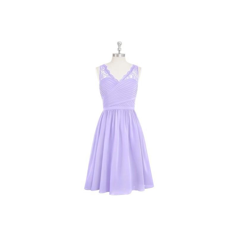 Свадьба - Lilac Azazie Heloise - Side Zip Knee Length V Neck Chiffon And Lace Dress - Simple Bridesmaid Dresses & Easy Wedding Dresses