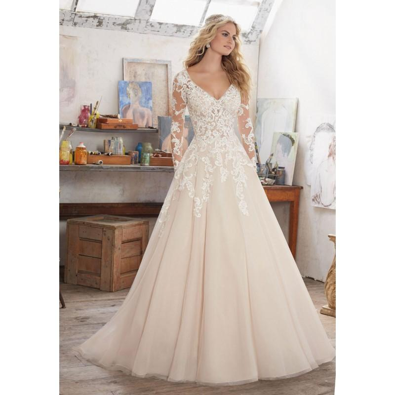 Hochzeit - Morilee Maira 8110 Long Sleeve Lace Ball Gown Wedding Dress - Crazy Sale Bridal Dresses