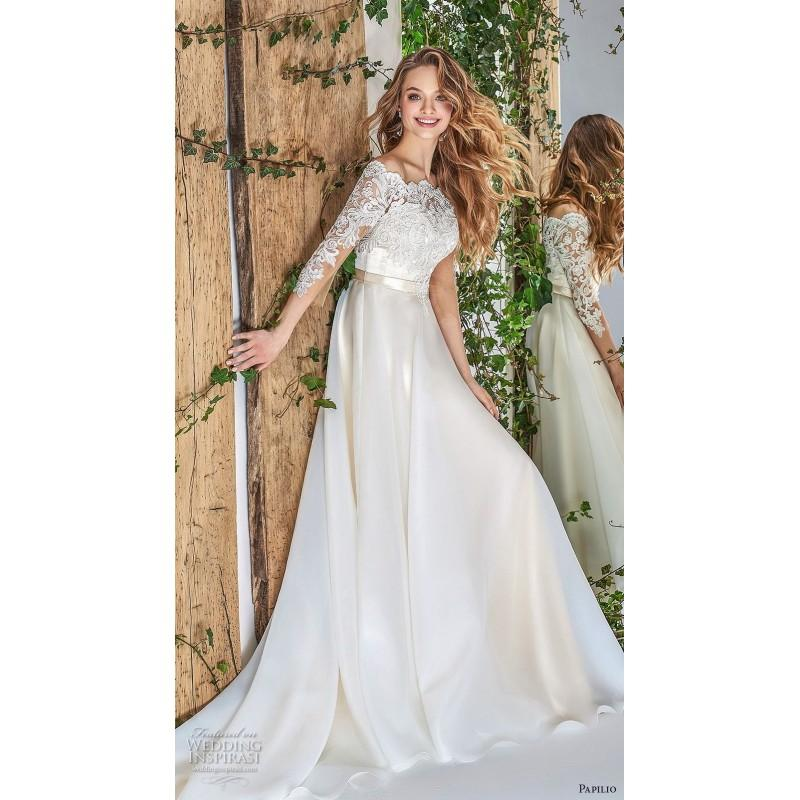 Wedding - Papilio 2018 Ivory Chapel Train Elegant 3/4 Sleeves Off-the-shoulder Aline Covered Button Appliques Lace Bridal Gown - Rich Your Wedding Day