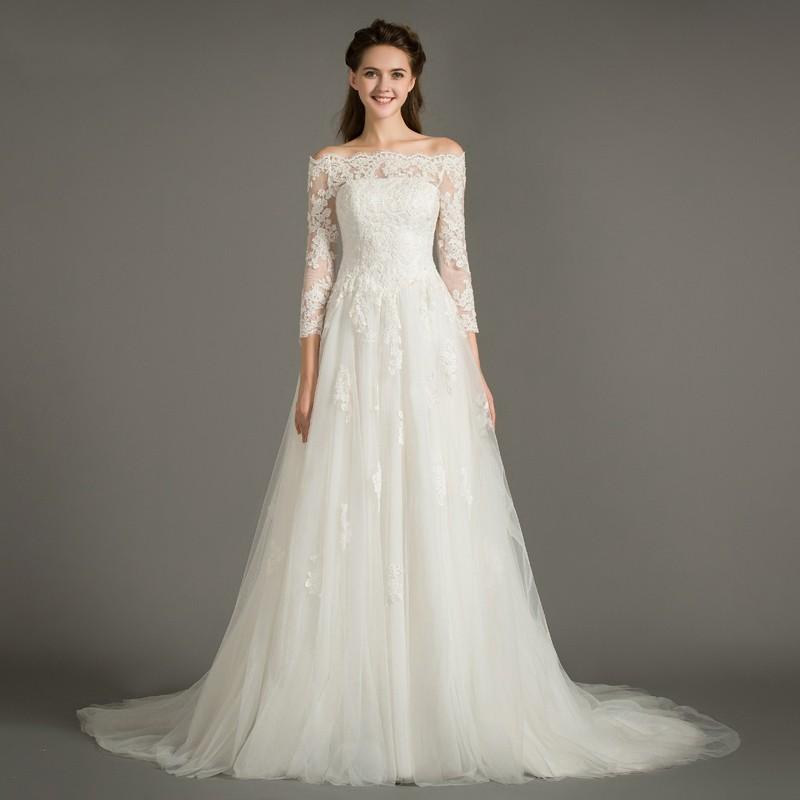605911b5be Azazie Nur 2017 new word shoulder long sleeves lace thin tail wedding dress  A version of the bride wedding dress - Simple Bridesmaid Dresses & Easy  Wedding ...