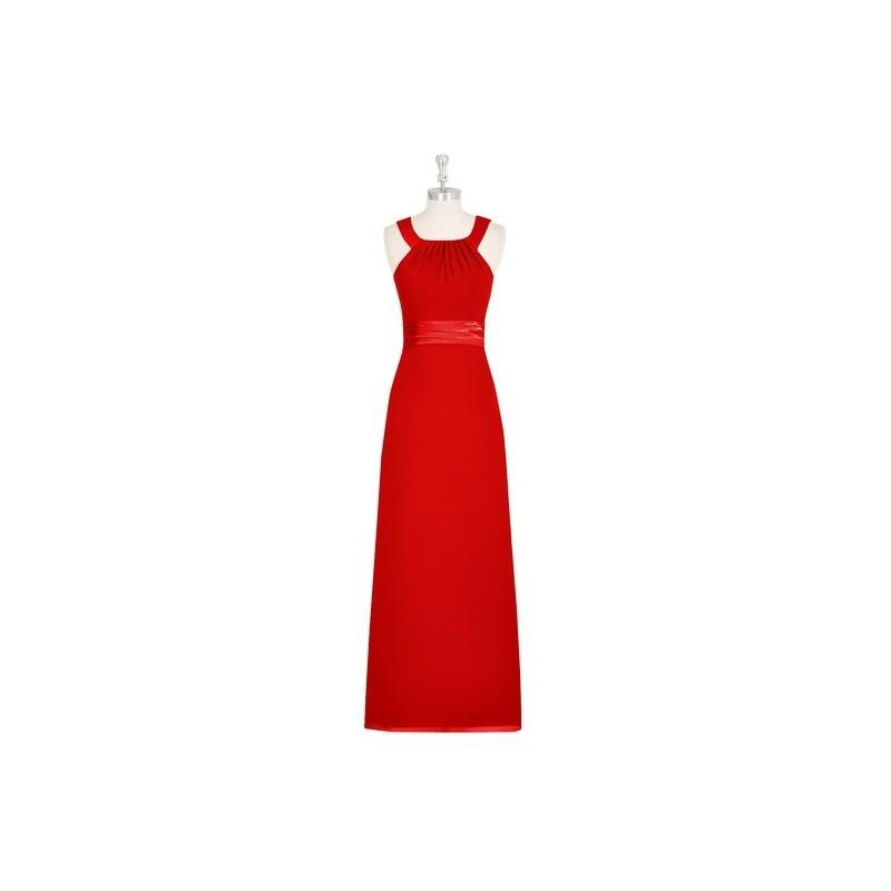 Wedding - Red Azazie Rory - Chiffon And Charmeuse Halter Floor Length Strap Detail Dress - Charming Bridesmaids Store