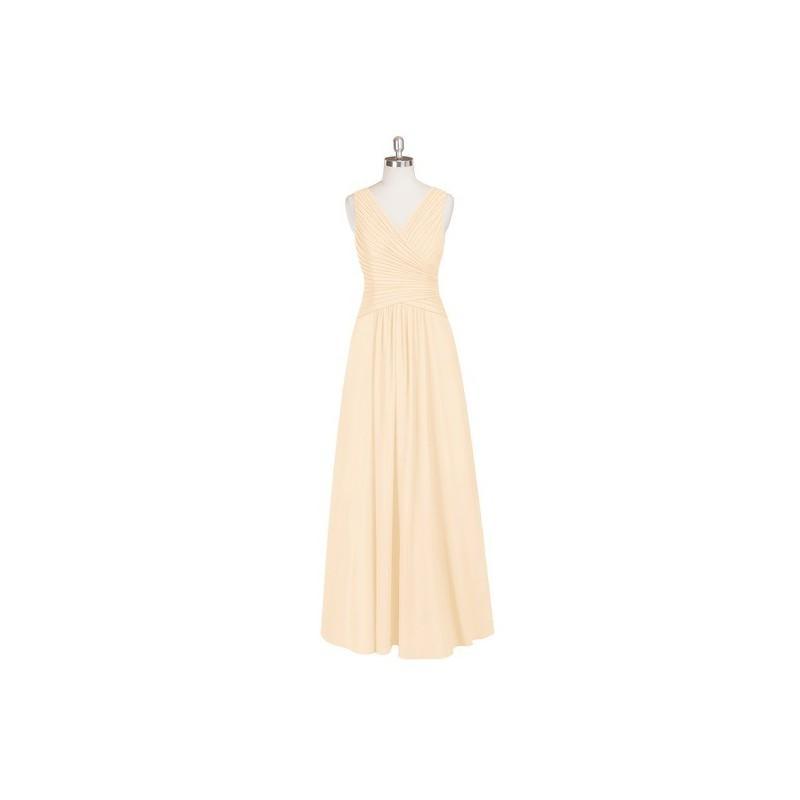 Wedding - Peach Azazie Amelia - Chiffon Back Zip V Neck Floor Length Dress - Simple Bridesmaid Dresses & Easy Wedding Dresses
