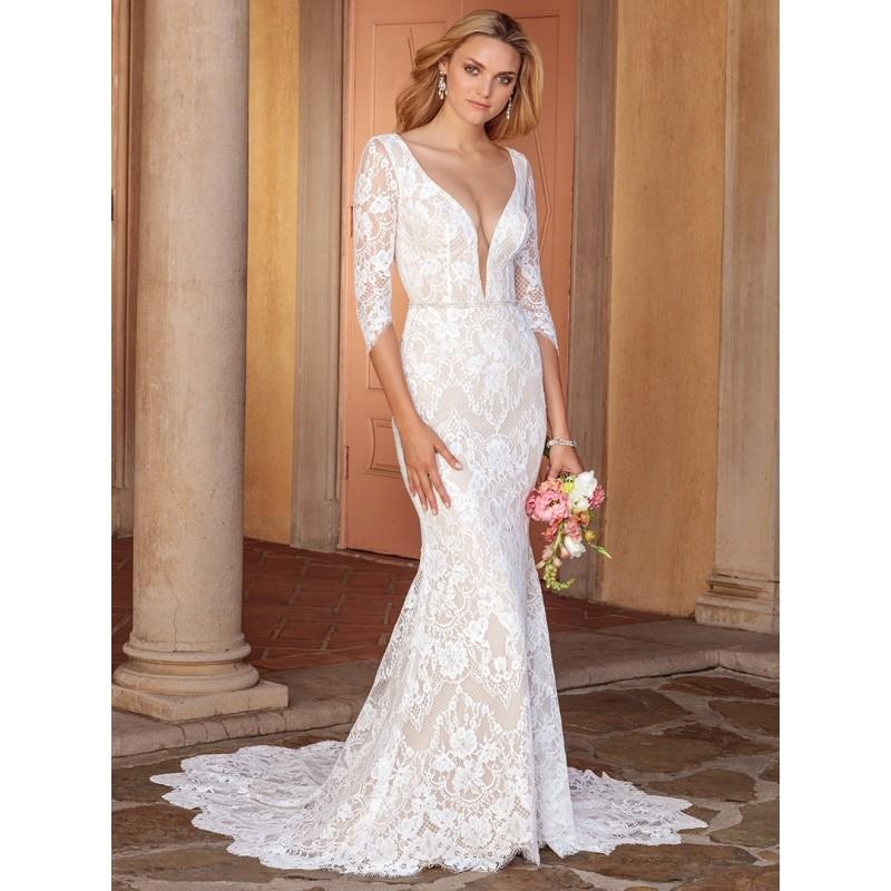 Wedding - Casablanca Bridal 2018 2331 Ainsley Chapel Train Deep Plunging V-Neck Fit & Flare 1/2 Sleeves Lace Open Back Dress For Bride - Rich Your Wedding Day