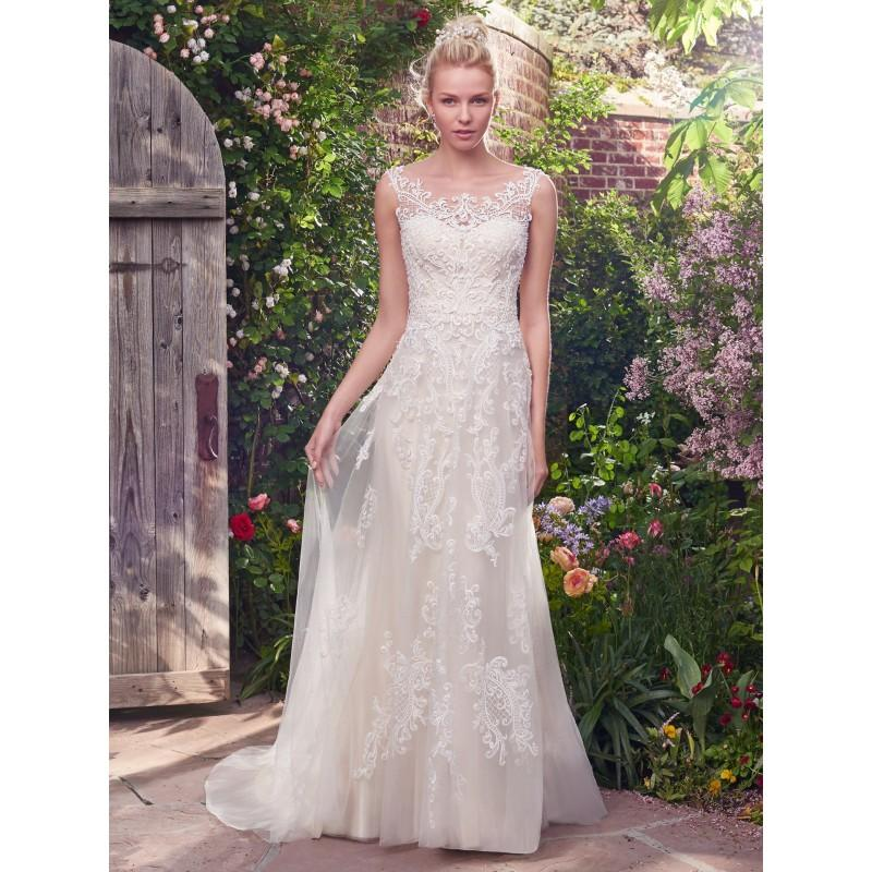 Wedding - Rebecca Ingram 2017 Alexis Aline Sweet Sleeveless Illusion Sweep Train Ivory Covered Button Lace Beading Spring Wedding Dress - Rich Your Wedding Day