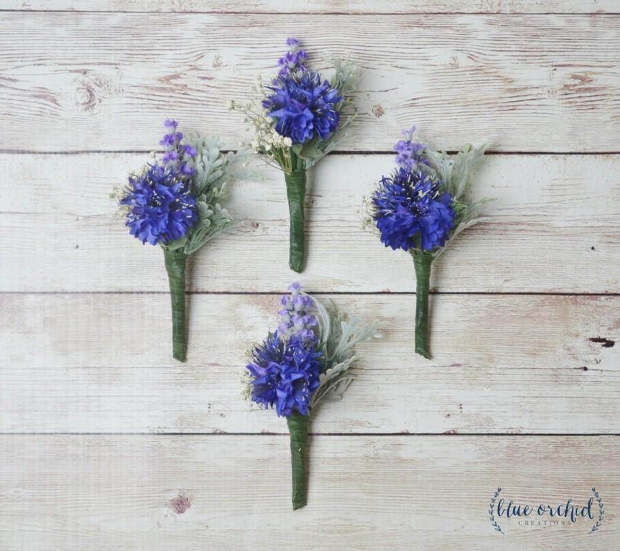 Mariage - Blue Boutonniere, Silk Flower Boutonniere, Boutonniere, Wedding Boutonniere, Cornflower Boutonniere, Royal Blue, Lavender, Groom, Groomsmen
