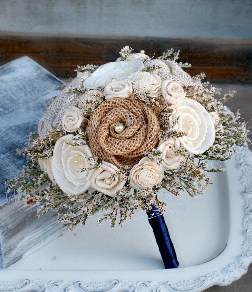 Свадьба - Rustic Dried Flower Bouquet // Burlap Bouquet, Bridal Bouquet, Wedding Bouquet, Sola Wood, Flower Bouquet, Bridal Flowers, Wedding Flowers