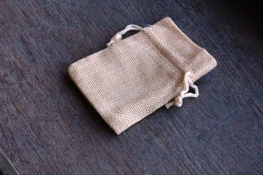 Wedding - Burlap Gift Gemstone Pouch 2.5 x 3.5 Inches V16 b